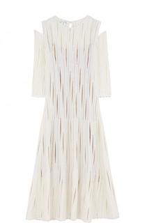 Приталенное шелковое платье-миди с разрезами на плечах Oscar de la Renta