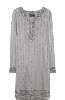 Вязаное мини-платье с V-образным вырезом Missoni