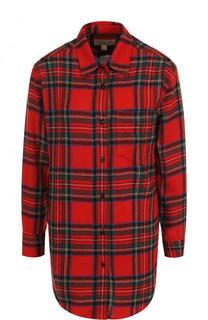 Шерстяная блуза свободного кроя в клетку Burberry