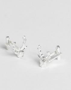 Запонки с оленями ASOS Wedding - Серебряный