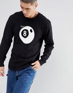 Лонгслив с принтом бильярдного шара номер 8 Stussy - Черный