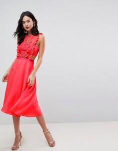 Платье миди с кружевной отделкой и плиссированной юбкой ASOS - Фиолетовый