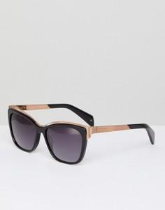 Солнцезащитные очки кошачий глаз с золотистыми зеркальными стеклами Ted Baker TB1482 001 Darcy - Черный