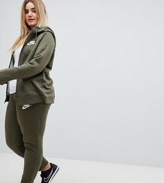 Спортивные штаны цвета хаки с манжетами Nike Plus - Зеленый