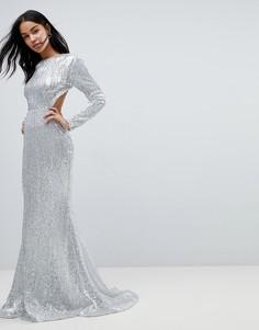 Платье макси с длинными рукавами, открытой спиной и пайетками Club L - Серебряный