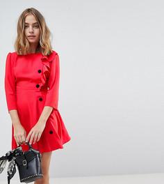 Чайное платье мини с пуговицами в стиле 40-х ASOS DESIGN Petite ultimate - Красный