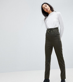 брюки-галифе цвета хаки с завышенной талией и поясом ASOS TALL STEVIE - Зеленый