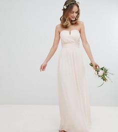 Платье макси с лифом-бандо TFNC Petite - Розовый