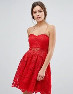 Кружевное платье-бандо мини ASOS - Красный