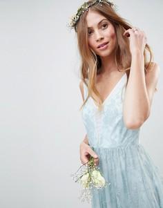 Платье миди с прозрачными кружевными вставками ASOS DESIGN Bridesmaid - Зеленый