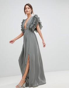 Платье макси с глубоким вырезом True Decadence Premium - Серый