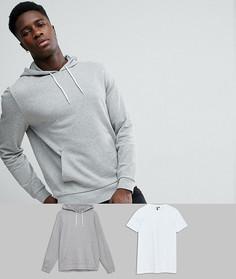 Худи и длинная футболка серого/белого цвета (2 шт.) ASOS - СКИДКА - Мульти