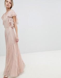 Сетчатое платье макси с оборками ASOS - Оранжевый