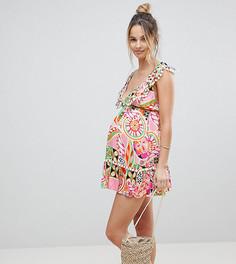 Пляжное платье с принтом в стиле ретро и помпонами ASOS Maternity - Мульти
