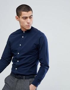 Приталенная рубашка с горловиной на пуговице Selected Homme - Темно-синий