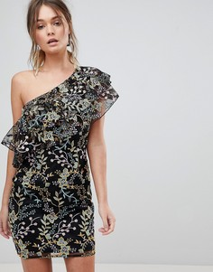 Платье мини на одно плечо с цветочной вышивкой Dolly & Delicious - Мульти