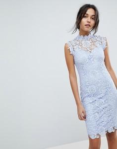 Кружевное платье миди с высокой горловиной Paper Dolls - Синий