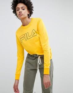 Oversize-лонгслив с логотипом на груди Fila - Желтый