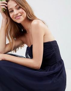 Платье-бандо миди из тюля ASOS DESIGN bridesmaid - Темно-синий