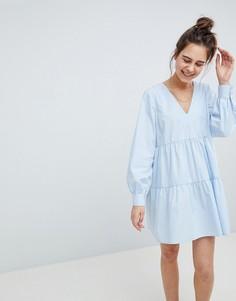 Хлопковое свободное платье ASOS DESIGN - Синий