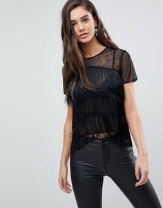 Прозрачная футболка с бахромой ASOS - Черный