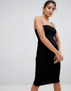 Облегающее платье миди бандо в рубчик ASOS - Черный