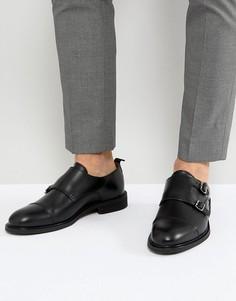 Кожаные монки с двумя ремешками Selected Homme - Черный