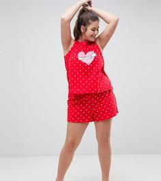Пижама с майкой и шортами ASOS CURVE Love Club - Красный