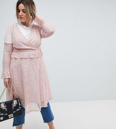 Кружевное платье миди с запахом Lovedrobe - Розовый
