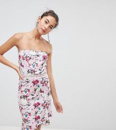 Платье бандо с оборкой на подоле Silver Bloom - Мульти