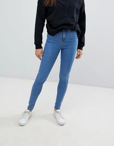 Укороченные джинсы скинни с завышенной талией Noisy May - Синий