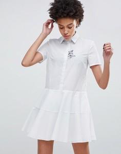 Платье-рубашка с вышитой кошкой Paul & Joe Sister - Белый