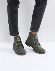 Парусиновые ботинки оливкового цвета на плоской подошве Palladium Pampa - Зеленый