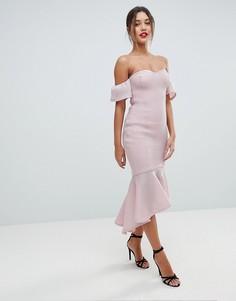Платье миди с широким вырезом и юбкой с годе Missguided - Розовый