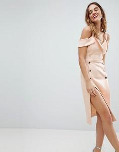Платье миди на пуговицах ASOS - Розовый