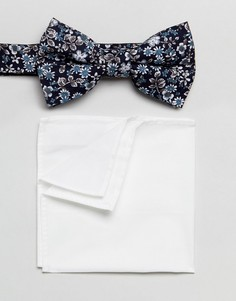 Галстук-бабочка и платок-паше с цветочным принтом Moss London - Темно-синий