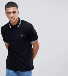 Черная облегающая футболка-поло с логотипом и окантовкой Fred Perry - Черный