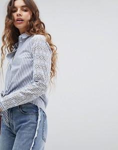 Рубашка в полоску с вышивкой ришелье и завязкой спереди Miss Selfridge - Мульти