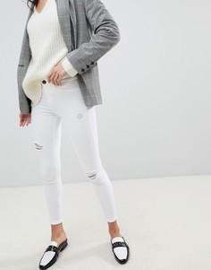 Белые джинсы скинни с рваной отделкой River Island Molly - Белый