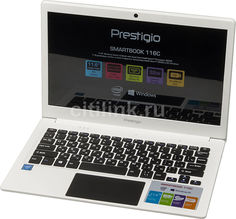 "Ноутбук PRESTIGIO SmartBook 116C, 11.6"", Intel Atom X5 Z8350 1.44ГГц, 2Гб, 32Гб SSD, Intel HD Graphics 400, Windows 10 Home, PSB116C01BFH_WH_CIS, белый"