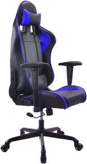 Кресло игровое БЮРОКРАТ CH-774, на колесиках, искусственная кожа, черный/синий/синий [ch-774/bl+blue]