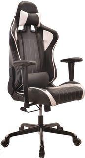 Кресло игровое БЮРОКРАТ CH-774, на колесиках, искусственная кожа, черный/белый [ch-774/bl+wh]