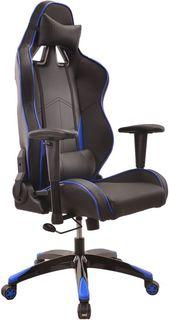 Кресло игровое БЮРОКРАТ CH-776, на колесиках, искусственная кожа [ch-776/bl+blue]