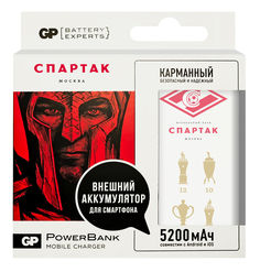 Внешний аккумулятор GP Portable PowerBank 1C05AWE-2CRFB1 Спартак3, 5200мAч, белый