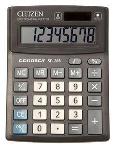 Калькулятор CITIZEN Correct, SD-208, 8-разрядный, черный