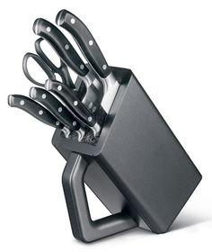 Набор ножей кухон. Victorinox Forged Cutlery Block (7.7243.6) компл.:6шт с подставкой черный подар.к