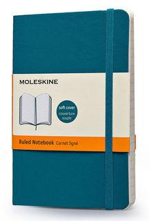 Блокнот Moleskine CLASSIC SOFT 90x140мм 192стр. линейка мягкая обложка фиксирующая резинка бирюзовый [qp611b6]