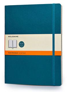Блокнот Moleskine CLASSIC SOFT 190х250мм 192стр. линейка мягкая обложка фиксирующая резинка бирюзовы [qp621b6]