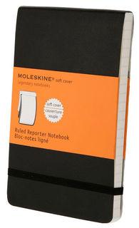 Блокнот Moleskine REPORTER SOFT 90x140мм 192стр. линейка мягкая обложка фиксирующая резинка черный [qp811]