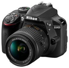 Зеркальный фотоаппарат NIKON D3400 kit ( 18-55mm f/3.5-5.6 VR AF-P), черный